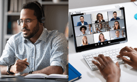 Two images put together side-by-side of students communicating with each other via an online video call.